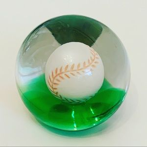 VTG ART GLASS BASEBALL PAPERWEIGHT 3""
